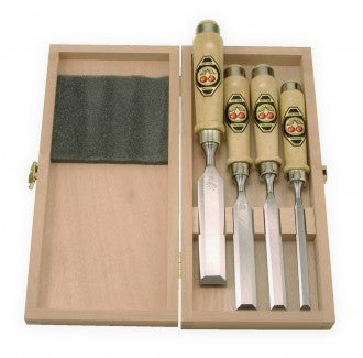 Two Cherries 4pc. Unpolished Boxed Bevel edged Chisel Set