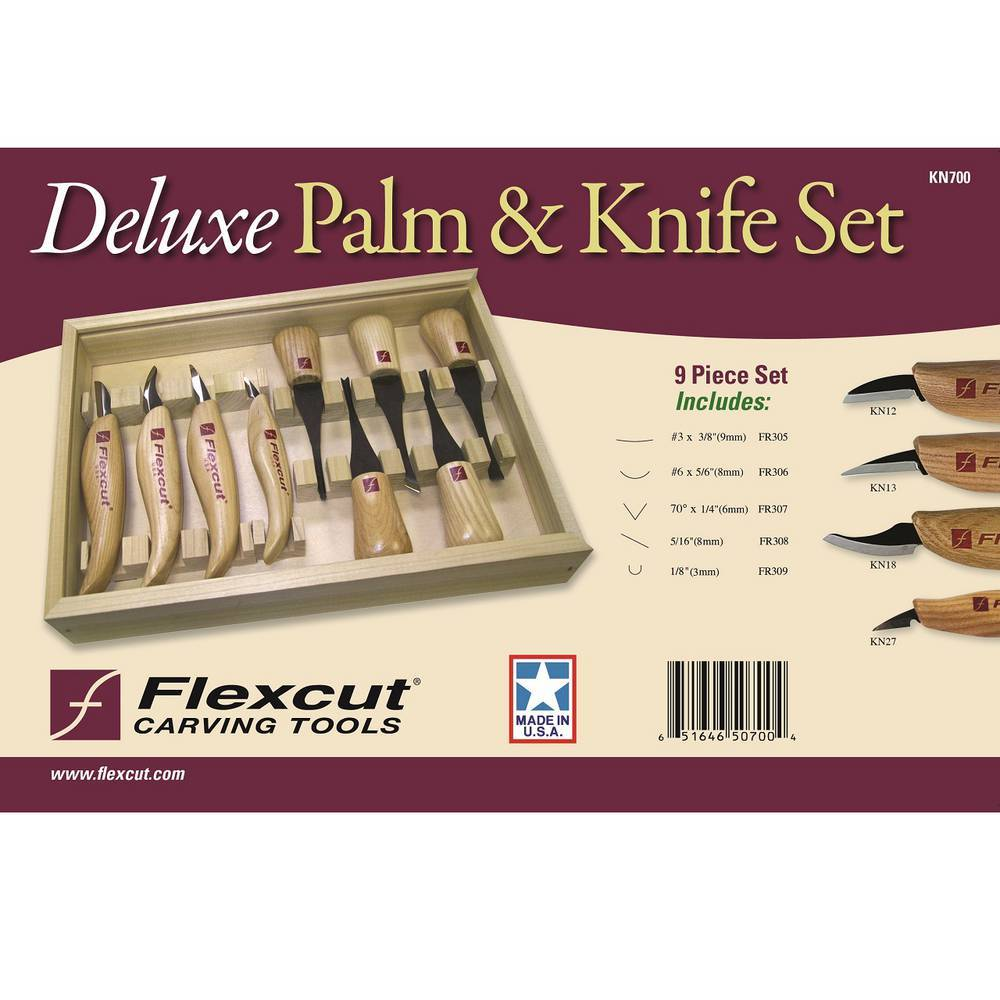 Flexcut Deluxe Palm And Knife Set KN700