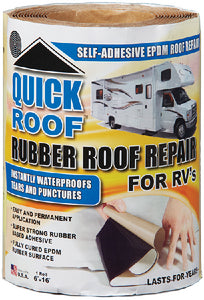 "Quick Roof RQR624 Instant Waterproofing For Rubber Roofs, Black Adhesive/White EPDM, 6"" x 16'"