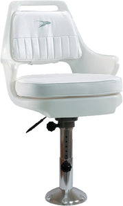 "Wise Standard Pilot Chair Package With Chair, Cushions, 12 to 18"" Adjustable Pedestal and Seat Slide - White"
