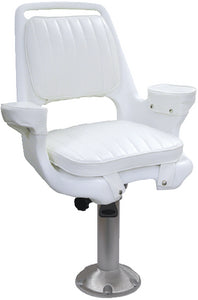 "Wise Captain's Chair Package With Chair, Cushions, Mounting Plate, 15"" Fixed Pedestal and Seat Spider - White"