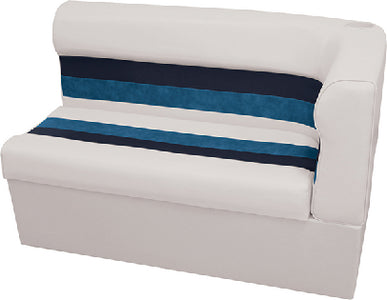 Deluxe Pontoon Furniture, Left Hand Long Corner Lounge & Base, White/Navy/Blue