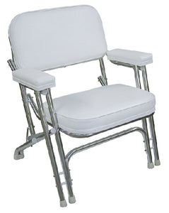Wise 8WD120AB-710 White Folding Deck Chair With Aluminum Frame