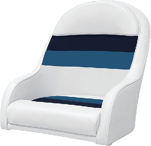 Deluxe Pontoon Furniture, Bucket Seat, White/Navy/Blue