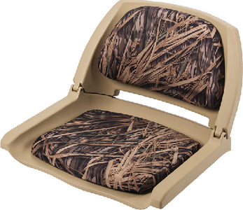 Wise 8WD139CLST729 Deluxe Molded Plastic Fold-Down Seat w/Cushions, Tan/Shadow Grass Camo