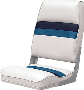 Deluxe Pontoon Furniture, Seat, White/Navy/Blue