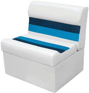 Deluxe Pontoon Furniture, 27' Bench, White/Navy/Blue