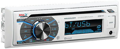 Boss Single-DIN CD/USB/SD&#44; MP3&#44; WMA&#44; FM/AM Player/Bluetooth<BR> - White
