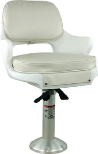 Springfield Yachtsman Fixed Height Chair Package, White (Includes Seat With Armrest and Cushions, Pedestal With Base and Locking Slide/Swivel)