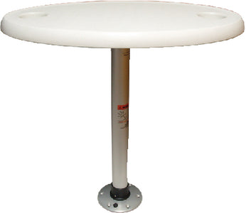 "Springfield Thread-Lock 18"" x 30"" Oval Table Package W/O Umbrella Socket (Includes Pedestal Set and Table Top)"