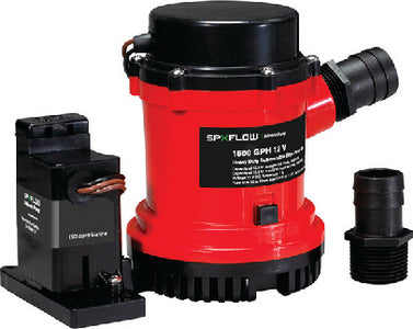 1600 GPH Heavy Duty Combo Bilge Pump w/Automatic Electromagnetic Switch, 12V