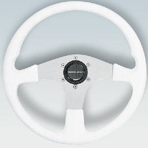 Uflex Corse Steering Wheel, White PVC Grip w/Silver Spokes