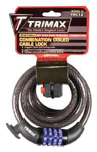 Trimax TRC126 Quadra-Braid 6' x 12mm Cable Lock with Combination & Quick Release Bracket