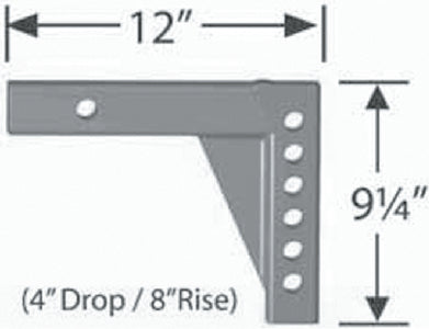 Equal-i-zer 90-02-4200 Specialty Drop Shank 2 Inch Square - 4 Inch Drop/8 Inch Rise x 12 Inch Length (L12)