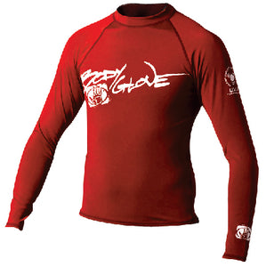 Basic Mens Long Sleeve Lycra Rash Guard, Size S Red