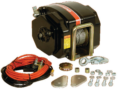 "Powerwinch 12V Model 912 Marine Trailer Winch With 7/32"" x 40' Cable, Max Load 11,500 lbs., Vertical Lift 4000 lbs."