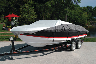 Taylor Heavy Duty Polyester Two-Tone Color Fabric BoatGuard Eclipse Boat Cover With Storage Bag, Tie-Down Straps and Support Pole