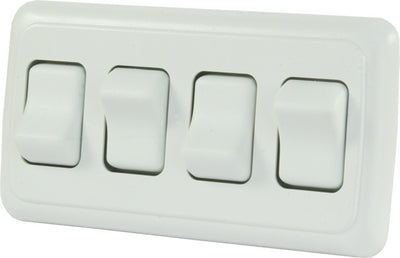 JR Products 12331 White Quad RV Rocker Switch Assembly with Bezel