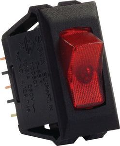 JR Products 12515 Red/Black SPST Illuminated 120V On/Off Switch