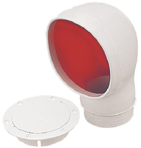 SeaDog 7271353 PVC Standard Profile Cowl Vent & Snap On Deck Plate, White With Red Interior