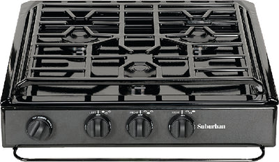 Suburban 3 Burner Slide-In Cooktop, Black Porcelain, Sealed Burners, Piezo Ignition