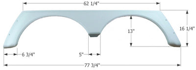 Icon Technologies 01640 Tandem Alpenlite FS779 White RV Fender Skirts