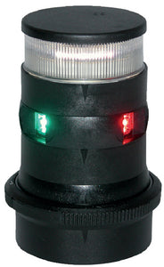 Aqua Signal 34706 Series 34 LED 12V/24V Navigation Light Slim Design, Tricolor/Anchor Mast Mount, Black