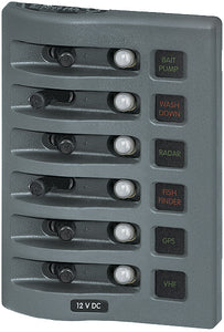 Weatherdeck Breaker Panel 12VAC 6 Pos Gray