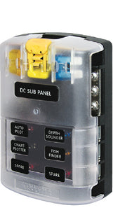 Blue Sea Systems 5025 ST Blade Common Source ATO/ATC Fuse Block w/Negative Bus - 6 Circuits with Cover