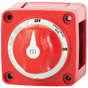 Blue Sea 6006 Battery Switch Mini On/Off w/Knob, Red