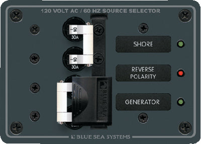 Blue Sea Systems Traditional Metal Circuit Breaker Panel - 120V AC Toggle Source Selector