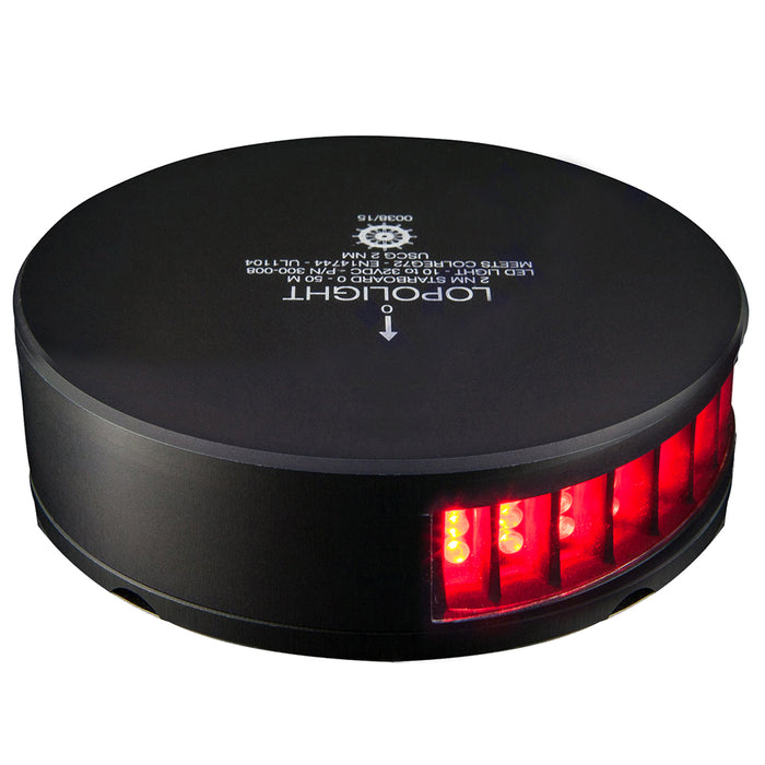 Lopolight Red Port LED Sidelight - 2nm f/Vessels 39-164' - Black Housing