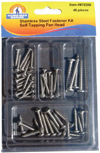Assorted 48 Piece Stainless Steel Pan Head Self-Tapping Screw Kit