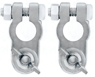 Battery Terminals w/Wing Nuts, Pair
