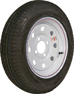 Loadstar Bias Tire and Wheel (Rim) Assembly K353 530-12 5 Hole 6 Ply, White With Stripe, Modular