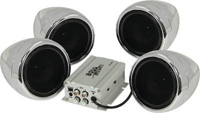 BOSS Audio Systems MC450 Chrome 1000 Watt Motorcycle ATV Sound System with 2 Pairs of 3 Inch Weather Proof Speakers