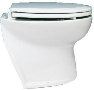 Jabsco 58060-1012 Deluxe Flush 12V DC Electric Toilet Angled Back with Solenoid Fresh Water Rinse