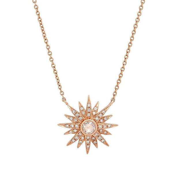 SUNBURST ROSE CUT DIAMOND NECKLACE