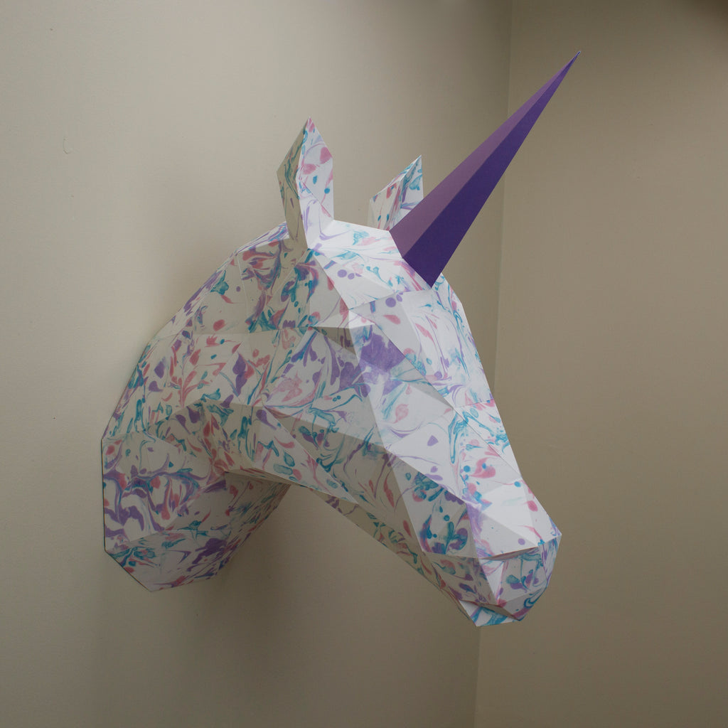 Vera the Marbled Unicorn | DIY Paper Sculpture Kit