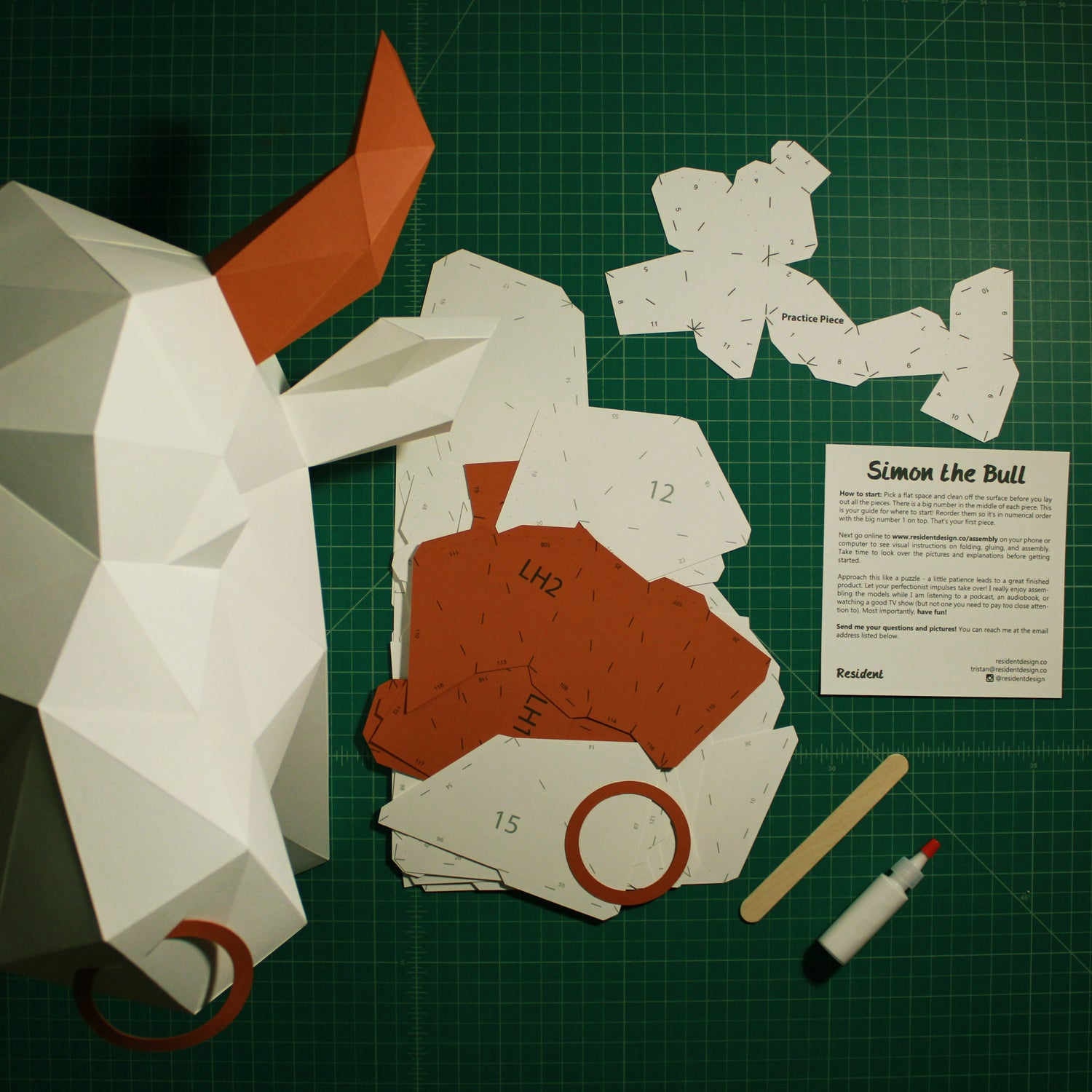Cut & Scored DIY Animal Paper Sculpture Kits | Simon the Bull