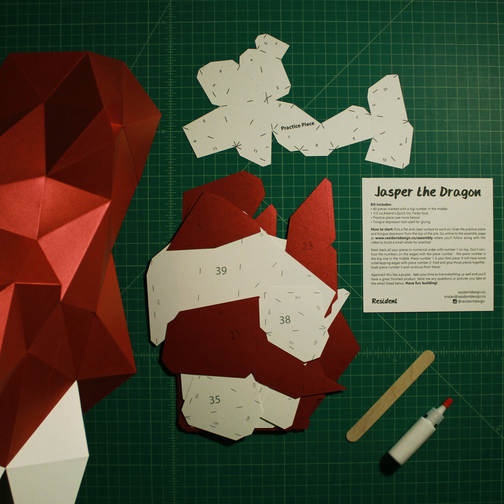 Cut & Scored DIY Animal Paper Sculpture Kits | Jasper the Dragon
