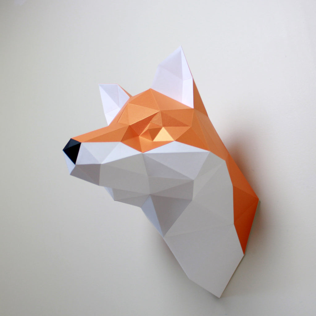 Fox Paper Animal Sculpture, Fox DIY Paper Sculpture, Resident Design,