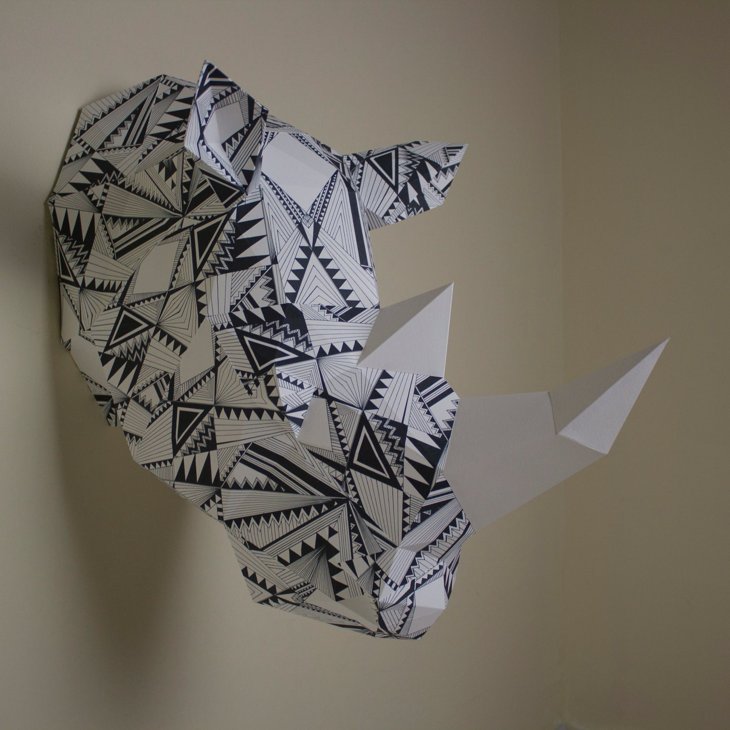 Bev the Geometric Rhino | DIY Papercraft Animal Kit
