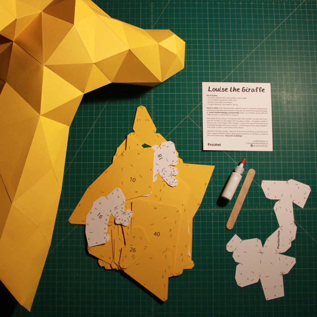 Cut & Scored DIY Animal Paper Sculpture Kits | Louise the Giraffe