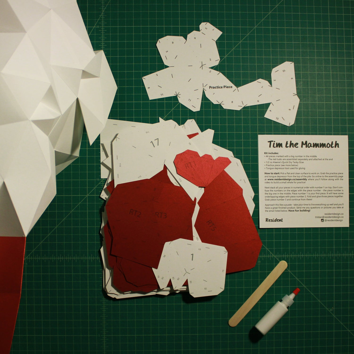 Cut & Scored DIY Animal Paper Sculpture Kits | Tim the Mammoth