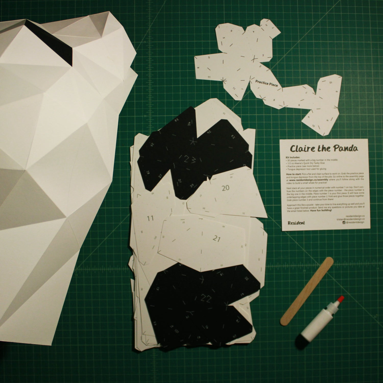 Cut & Scored DIY Animal Paper Sculpture Kits | Claire the Panda