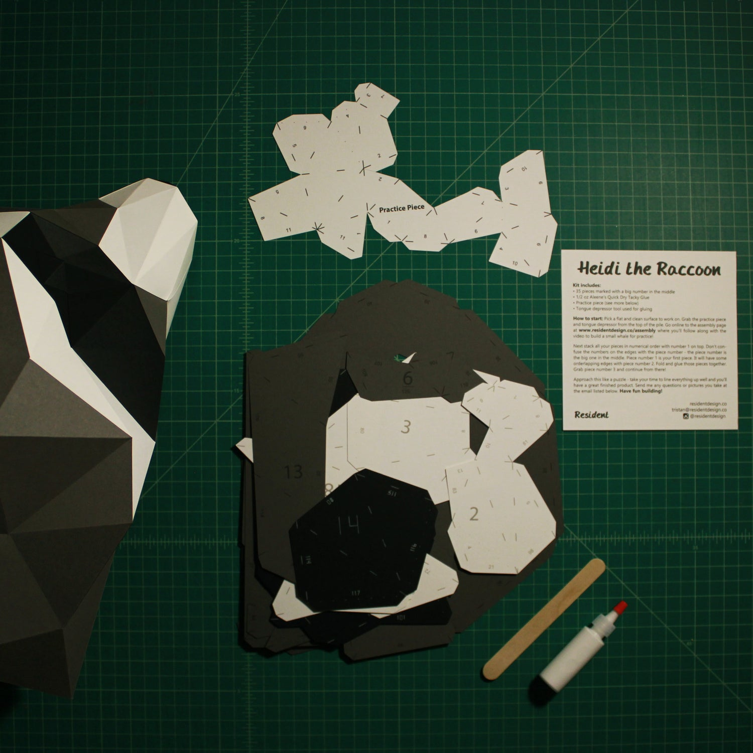 Cut & Scored DIY Animal Paper Sculpture Kits | Heidi the Raccoon