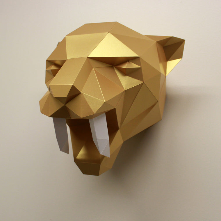 Fiona the Sabre-Tooth Tiger | DIY Papercraft Sculpture Kit