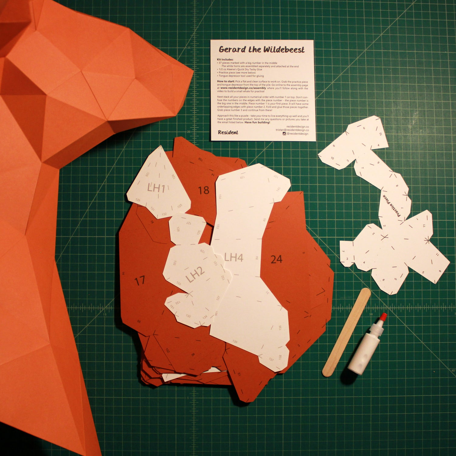 Cut & Scored DIY Animal Paper Sculpture Kits | Gerard the Wildebeest