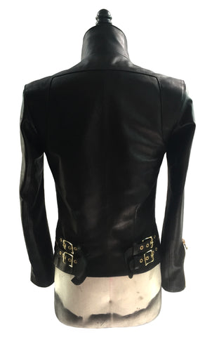 MB LJ05 Leather Jacket Side Gold Plated Buckles - Some Things Dark